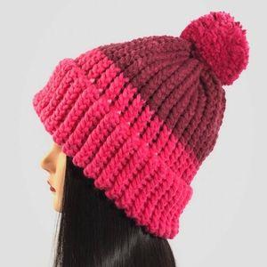 Chunky Knit Pom Pom Beanie Pink Wine Red Brim Hat